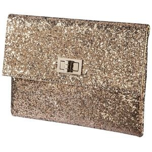 Small Gold Glitter Flap Over Clutch & Turning Lock